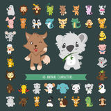 Set of 40 Animal costume characters Royalty Free Stock Photo