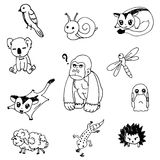 Set of animal doodle drawing outline vector Stock Photo