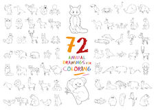 Set of 72 Animal Drawings for Coloring. Vector Illustration stock illustration