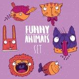 Set of animal emblems in handmade cartoon style Stock Photography