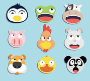 Set of animal faces. Set of cartoon animal faces stickers Stock Image