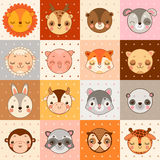 Set of 16 animal faces: cow, monkey and others. Set of 16 animal face icons: cow, monkey and others Vector Illustration