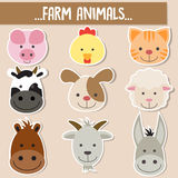 Set of animal faces. Farm animal Royalty Free Stock Photo