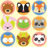 Set of animal faces Stock Photo