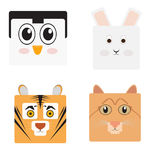 Set of animal faces. Shaped style, Vector illustration Stock Images