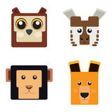 Set of animal faces. Shaped style, Vector illustration Stock Photography