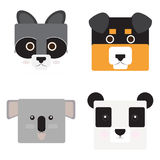 Set of animal faces. Shaped style, Vector illustration Royalty Free Stock Image