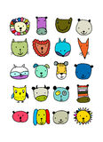 Set of animal faces, sketch for your design. Vector illustration Royalty Free Stock Images