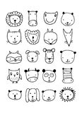 Set of animal faces, sketch for your design. Vector illustration Stock Photography