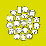 Set of animal faces, sketch for your design. Vector illustration Stock Image