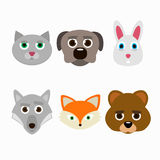 Set of animal faces. Vector illustration Royalty Free Stock Photos