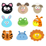 Set of animal faces. Vector illustration of cute cartoon animal faces Royalty Free Stock Photo