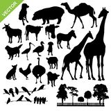 Animal and farm silhouette vector. Set of animal and farm silhouette vector Royalty Free Stock Photo