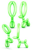 Set of animal figures out of balloons  on white backgrou. Nd. Different view. Animal with long ears. Green animal balloons. 3d render image Stock Image