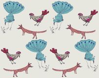 A set of animal figures: peacocks, cockerels and foxes. stock illustration