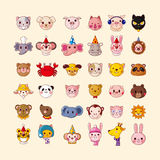 Set of animal head icons. Cartoon vector illustration Royalty Free Stock Images