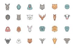 Set of 24 animal heads. Vector zoo icon collection in tribal geometric style and trendy color set. Drawings of exotic, wild and royalty free illustration
