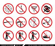 Set of animal hunt prohibition signs. Collection of signs that ban usage of animal hunt weapon. Prohibition signs. Signs of obligations. Signs of alerts. Vector Stock Photo