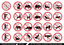 Set of animal hunt prohibition signs. Collection of signs that prevent animal hunting. Animal hunt banned. Preserving wildlife stock illustration