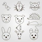 Set of Animal icon. Line art sryle Stock Photos