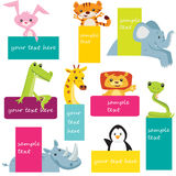 Set of animal labels Stock Photography