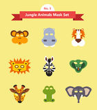 Set of animal masks . set 3. jungle animals Stock Photos
