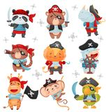 Set of animal pirates. Vector illustration on white background. Set of cute animals in the costumes of pirates. Vector illustration on white background vector illustration