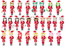 Set Animal Santa claus Girl and Boy Royalty Free Stock Photography