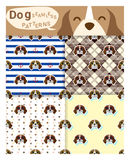Set of animal seamless patterns with beagle dog Royalty Free Stock Photography