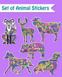 Set of animal stickers Royalty Free Stock Photo