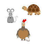 Set of animal - turtle, chicken and mouse.  Royalty Free Stock Photo