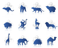 Set of animals. With ornament background and reflection Royalty Free Stock Images