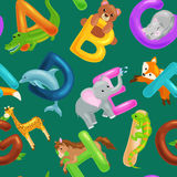 Set of animals alphabet for kids fish letters, cartoon fun abc education in preschool, cute children zoo collection Royalty Free Stock Images