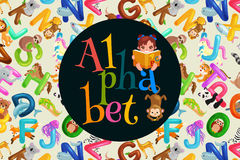 Set of animals alphabet for kids letters, cartoon fun abc education in preschool, cute children zoo collection learning. Animals alphabet set for kids abc Vector Illustration