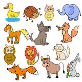 Set of animals for babies. Vector of multicolored different animals Stock Images