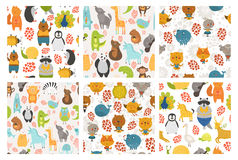 Set of animals backgrounds Stock Image