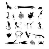 Set of 20 animals, black silhouette for your Royalty Free Stock Photos