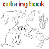 Set of animals and cactus for coloring book Stock Image