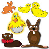 Set of animals. Chicken, rabbit and lamb with birds on a white background stock illustration