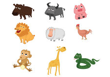 Set of animals. Contain 9 type of animals in set Royalty Free Stock Images