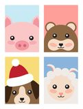 Set of Animals Covers Design Pig Mouse Dog Sheep. Set of animals covers design with head of pink pig, funny mouse, dog in Santa s hat, cute sheep vector New Year Royalty Free Stock Photography
