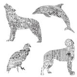 Set of animals with ethnic ornaments. 4 animals, symbolizing different countries. Wolf with Turkish patterns, dolphin with Greek, wolfhound with Irish and Condor Royalty Free Stock Photo