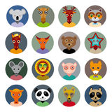 Set of animals faces circle icons set in Trendy Flat Style. zoo Stock Photo