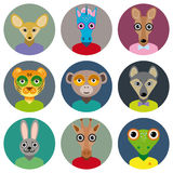 Set of animals faces circle icons set in Trendy Flat Style. zoo Stock Images