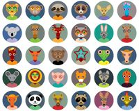 Set of animals faces circle icons set in Trendy Stock Image