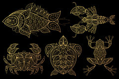 Set of animals fish, lobster, crab, sea turtle, frog. Royalty Free Stock Photography