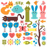 Set of animals and floral elements stock illustration