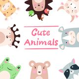 Set animals - giraffe, hedgehog, cow, bull, rhino, raccoon, bear, frog, deer. vector illustration