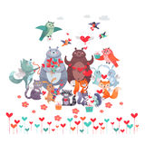 Set of Animals with Hearts. Valentines Day Concept Stock Photo