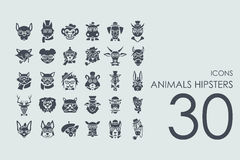 Set of animals hipsters icons. Animals hipsters vector set of modern simple icons stock illustration